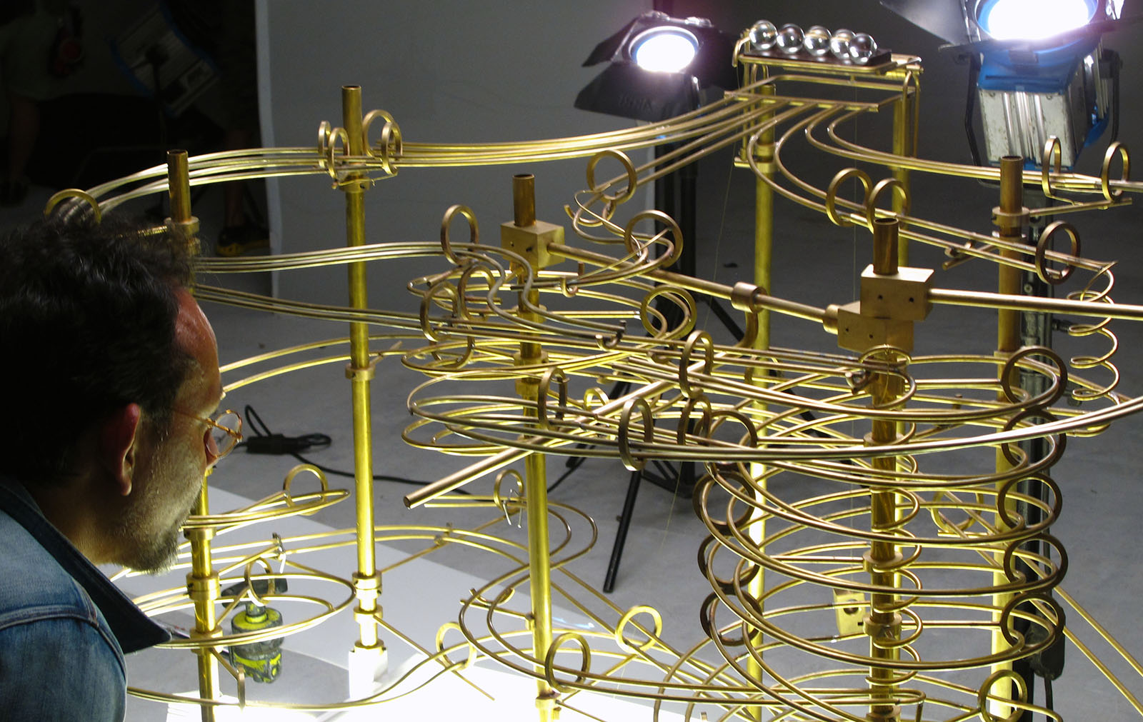 Close-up detail of the Maybank 'Rube Goldberg' machine